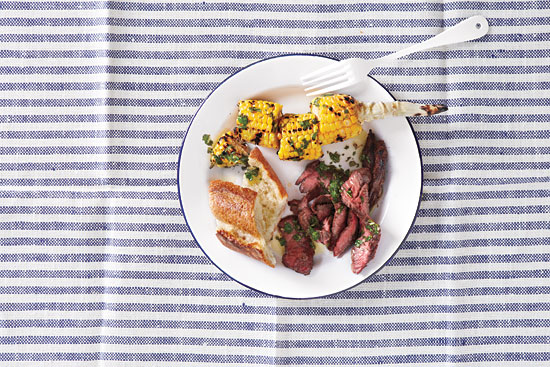 Easy and quick skirt steak with corn and chimichurri.