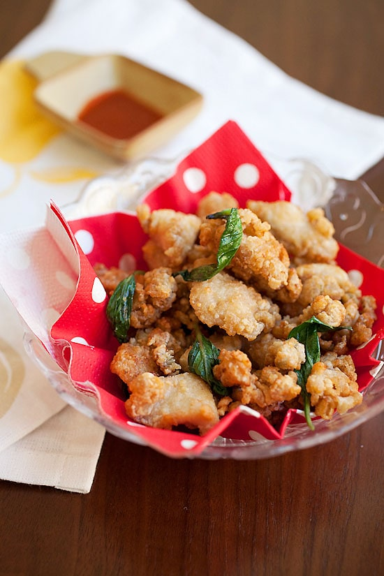 Chinese Salt and Pepper Chicken or Popcorn Chicken in a plate.