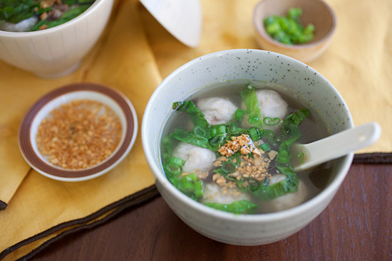 Easy fish balls soup with garlic oil in a bowl ready to serve.