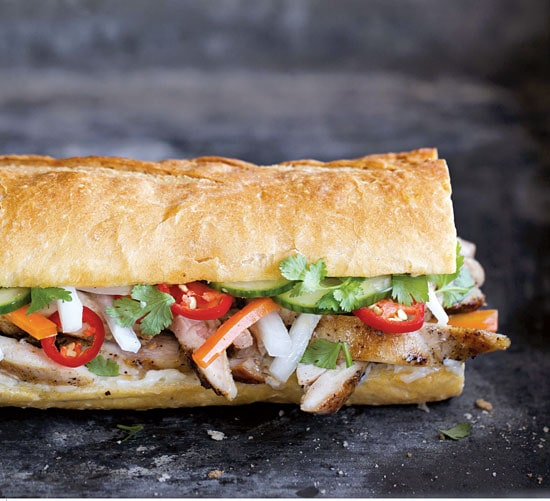 Homemade Hanoi Grilled Chicken Banh Mi ready to serve.
