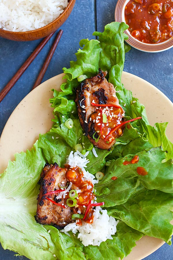 Easy and delicious authentic Korean BBQ Chicken (Dak Gogi) with lettuce leaves and steamed rice.
