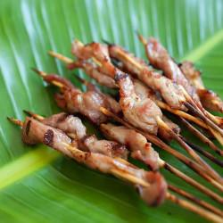 Pork Satay with Sweet Coconut Milk Glaze
