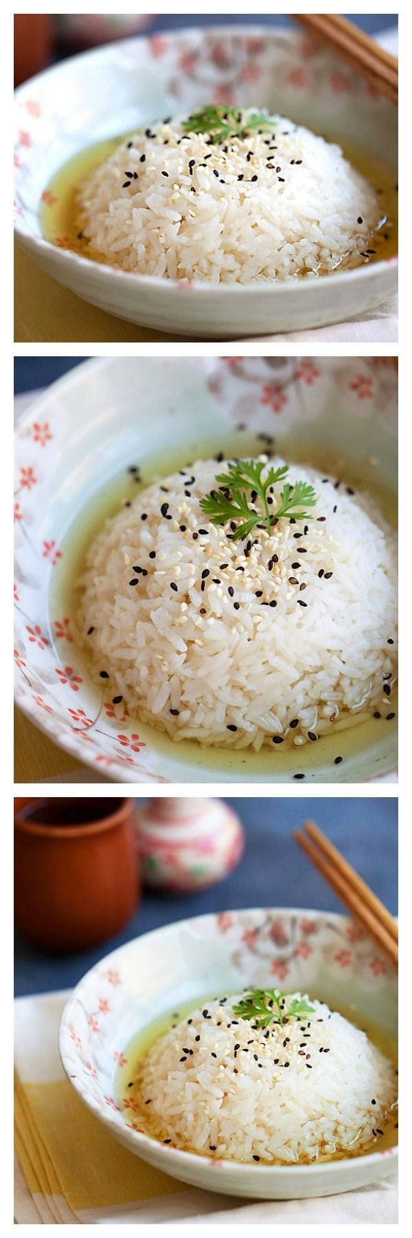 Green Tea Rice using green tea and regular steamed rice. Easy and healthy rice that you can have every day | rasamalaysia.com