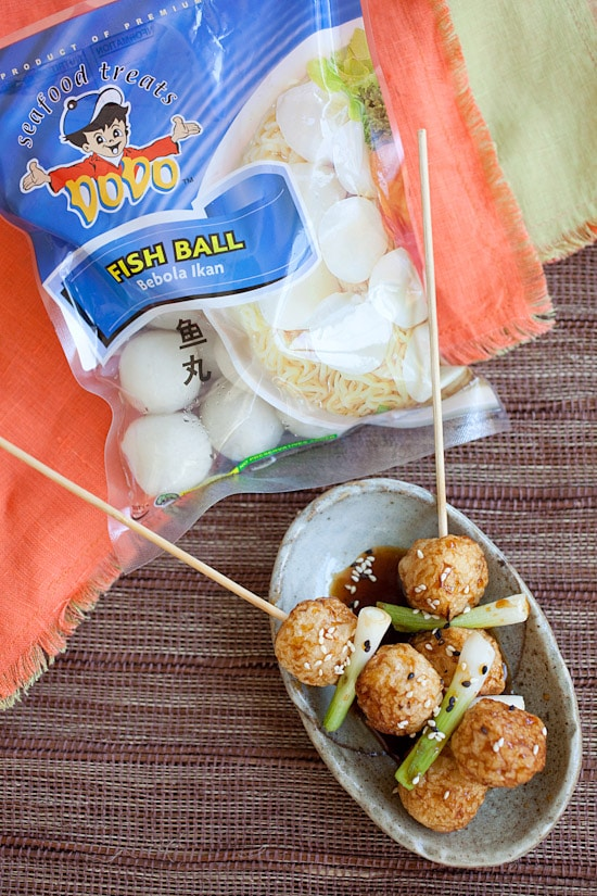 Easy and quick fried fish balls skewers with glazed teriyaki sauce.