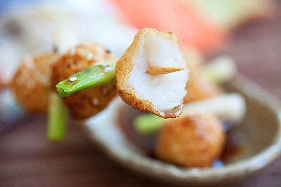 A skewer of fish balls and scallions with delicious teriyaki sauce.