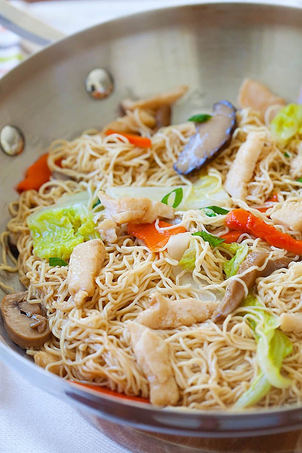 Chicken lo mein the best recipe rasa malaysia how to make chicken lo mein in a wok or skillet forumfinder Images