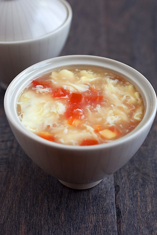 A bowl of Chinese egg drop soup ready to serve.