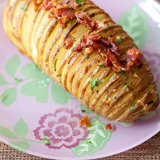 Bacon Parmesan Hasselback Potatoes