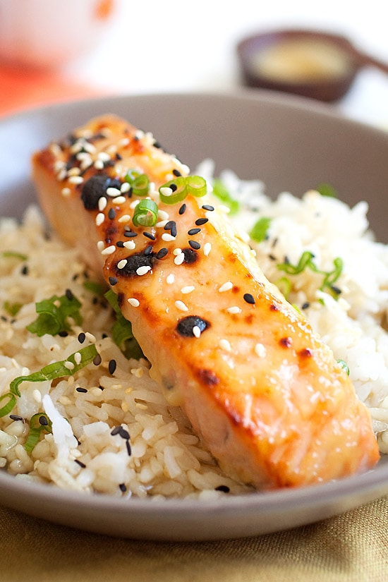 Oven baked Miso-glazed broiled salmon on top of rice.