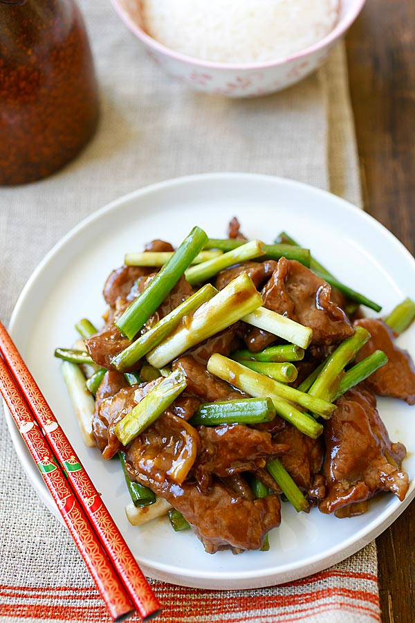 Mongolian Beef - homemade, healthy, the best Mongolian beef recipe that is a zillion times better than Chinese takeouts and PF Chang's | rasamalaysia.com