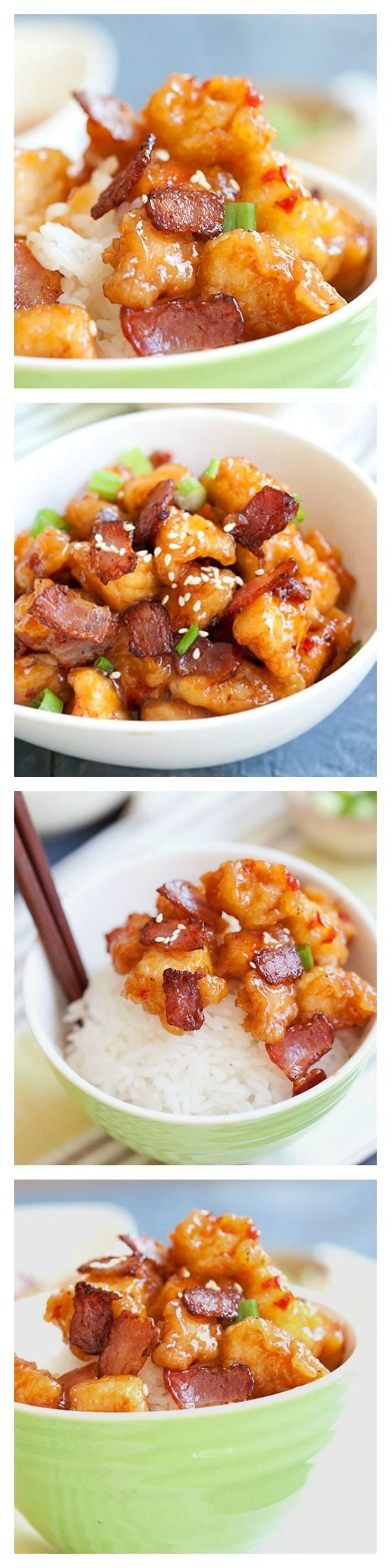 Panda Express Orange Chicken with Bacon Copycat recipe. Make it at home in 20 minutes!   rasamalaysia.com