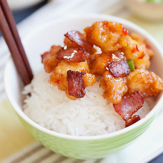 Panda Express Orange Chicken with Bacon Copycat recipe. Make it at home in 20 minutes! | rasamalaysia.com