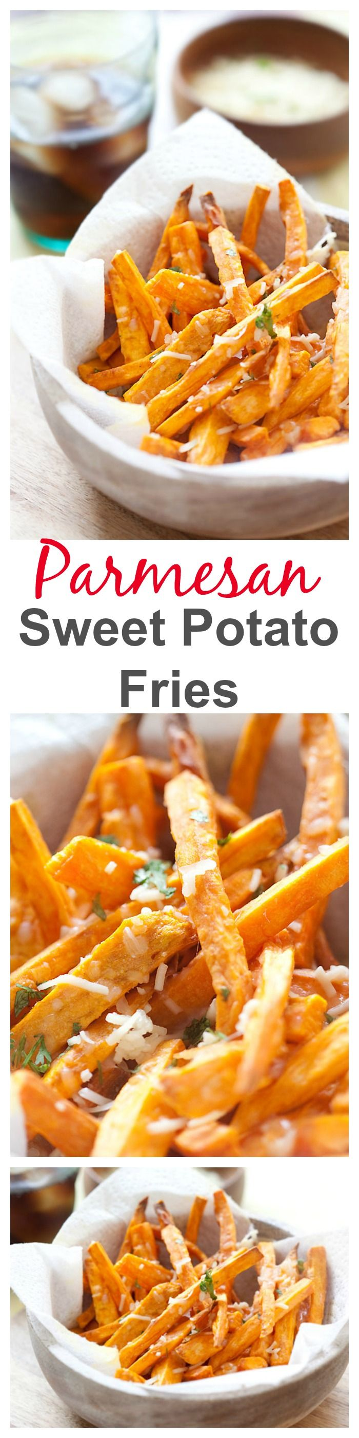 Parmesan Sweet Potato Fries - crispy and cheesy sweet potatoes and topped with Parmesan cheese, perfect side dish and so easy | rasamalaysia.com