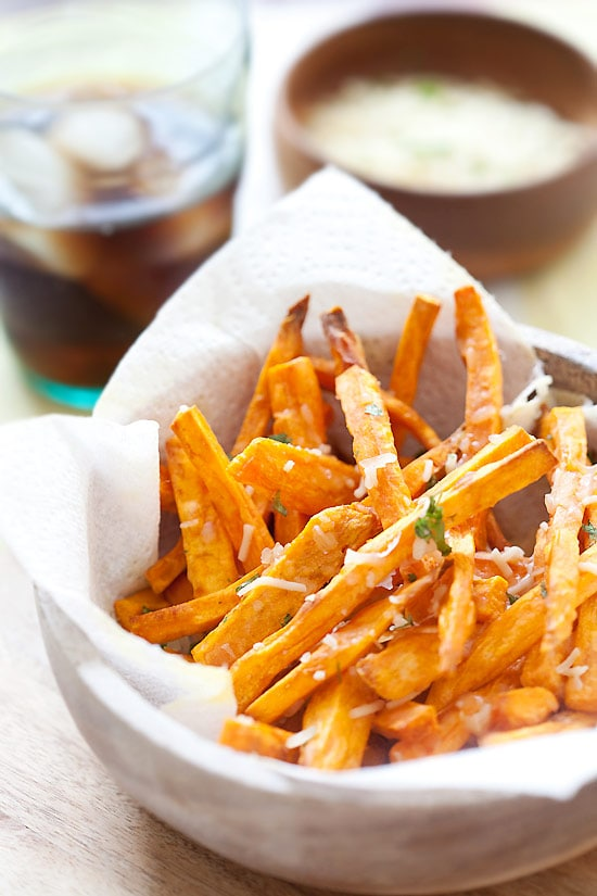 Parmesan Sweet Potato Fries in a basket.