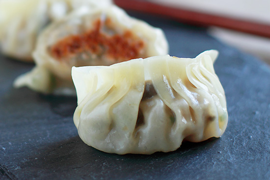 Closeup of homemade Potstickers on prep counter.