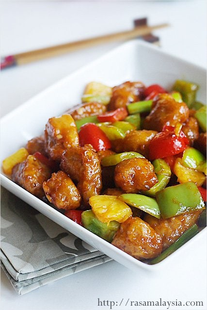 Authentic sweet and sour pork recipe that is better than your favorite Chinese restaurants.| rasamalaysia.com