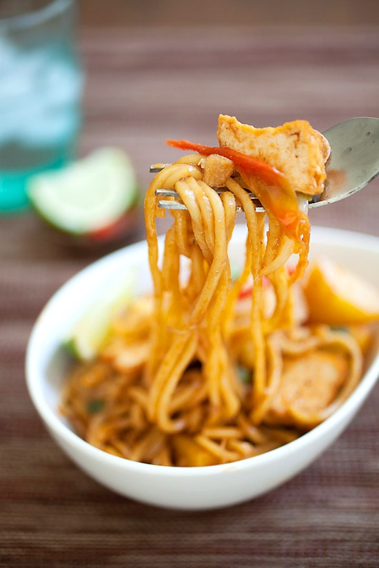 Malaysian vegetables Mee Goreng with a fork.