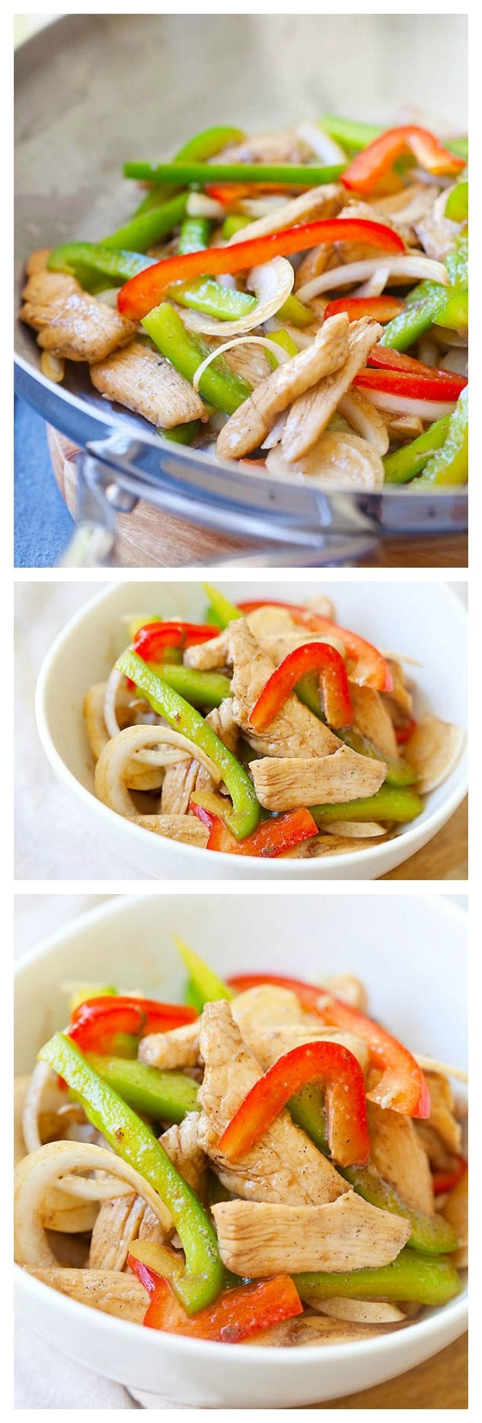 Black pepper chicken is a delicious and easy recipe to make at home, with only a few ingredients: black pepper, chicken, onion and bell pepper | rasamalaysia.com
