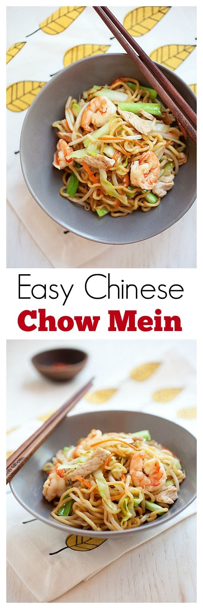 Easy Chinese Chow Mein - quick, delicious and healthy recipe that is MUCH better than takeout. Learn how to make it | rasamalaysia.com