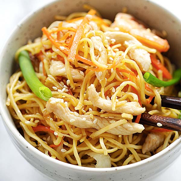 Chow Mein - quick and healthy Chinese fried noodles Chow Mein recipe that anyone can make at home. Tastes so much better than takeout | rasamalaysia.com