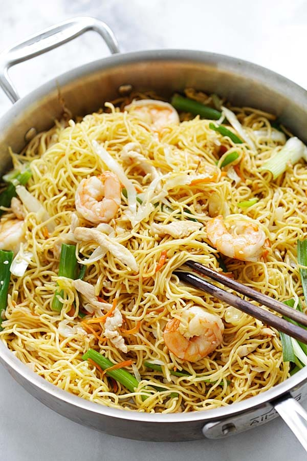 Chow Mein noodles stir-fried with Chow Mein sauce in a wok or skillet