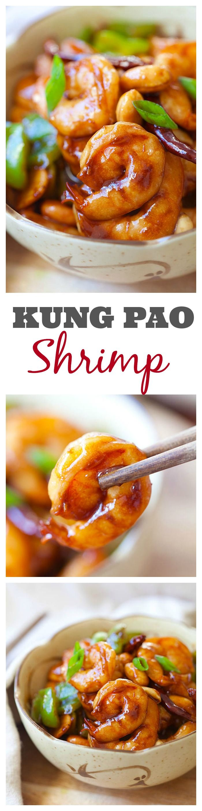 Kung Pao Shrimp recipe that is super easy to make at home in less than 30 minutes but much better and healthier than Kung Pao Shrimp takeout from restaurants | rasamalaysia.com