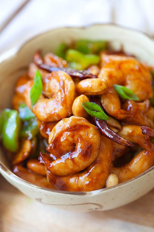 Quick and easy Kung Pao Shrimp in a bowl.