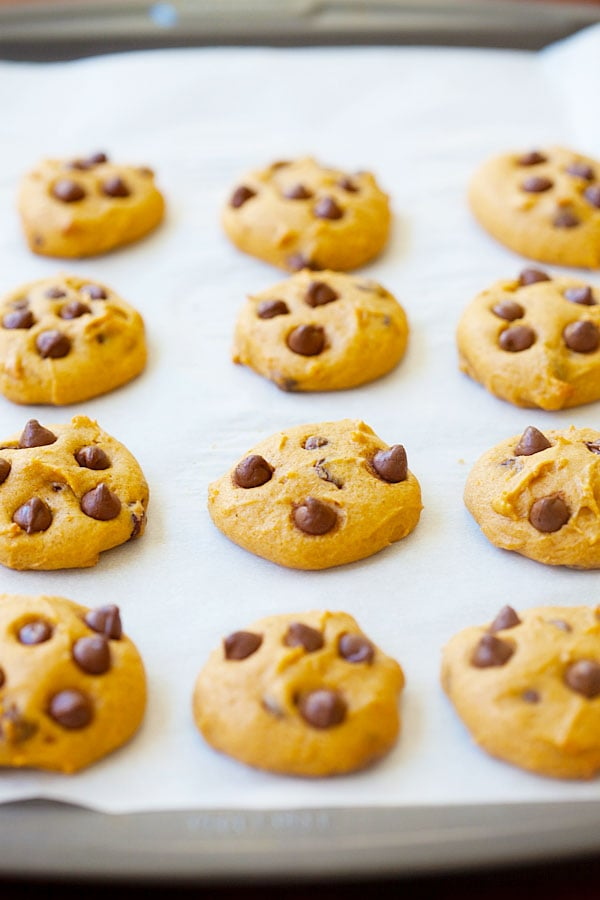 Pumpkin chocolate chip cookies that are chewy and soft, loaded with pumpkin and chocolate chips. | rasamalaysia.com