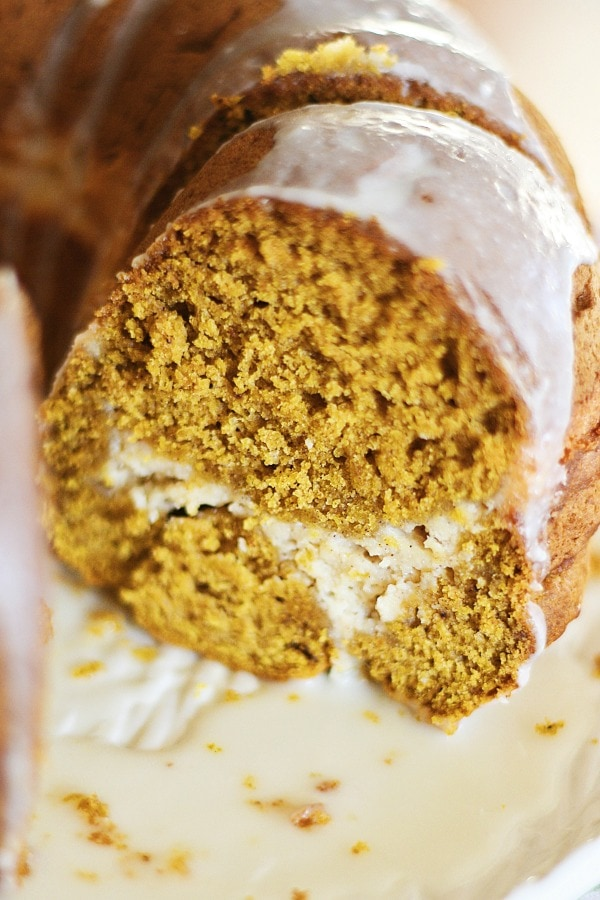 Sweet pumpkin cream cheese bundt cake recipe with pumpkin and cream cheese in one decadent cake. Cheesecake lovers would love this amazing cake | rasamalaysia.com
