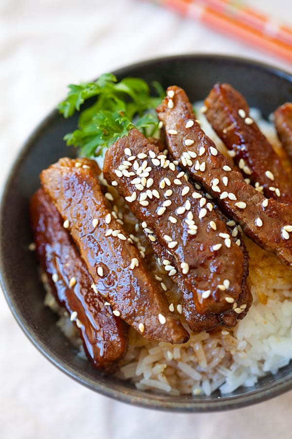 Beef Teriyaki - BEST and EASIEST beef teriyaki recipe that takes 15 mins to make and better than restaurants | rasamalaysia.com