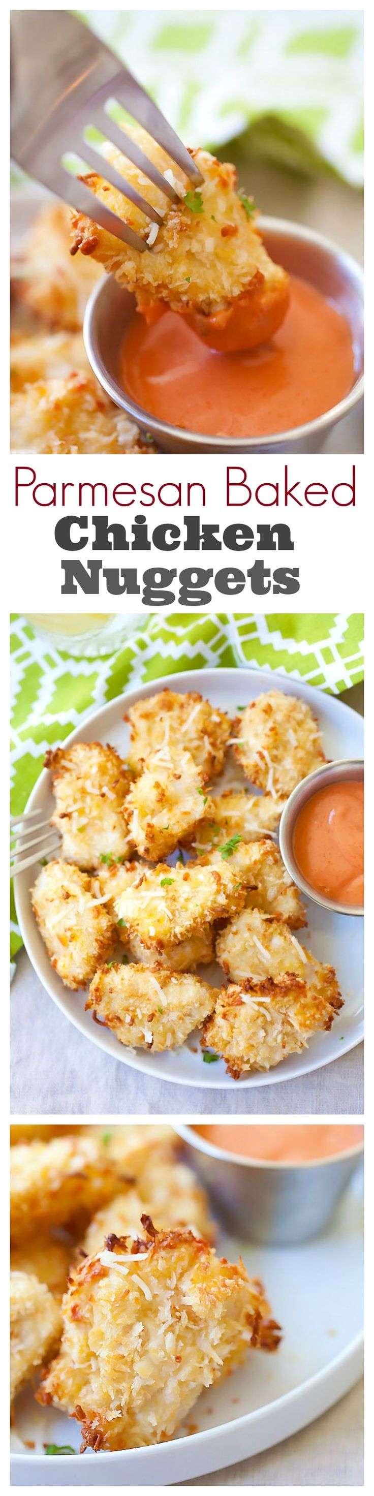 Parmesan Baked Chicken Nuggets - Best nuggets with real chicken & Parmesan, no deep-frying. The easiest baked chicken nuggets recipe ever   rasamalaysia.com