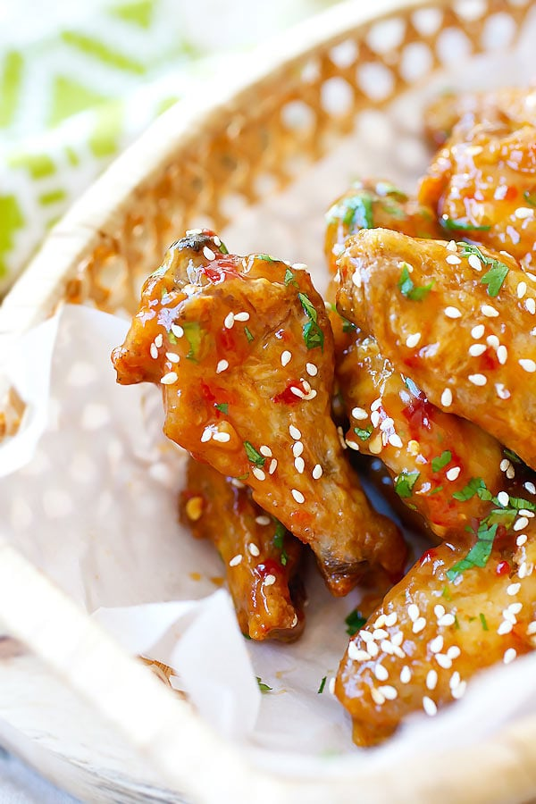 Crispy Baked Orange Chicken Wings - baked in oven and coated with sweet, citrusy and savory Chinese orange sauce. BEST and crispiest chicken wings EVER - rasamalaysia.com