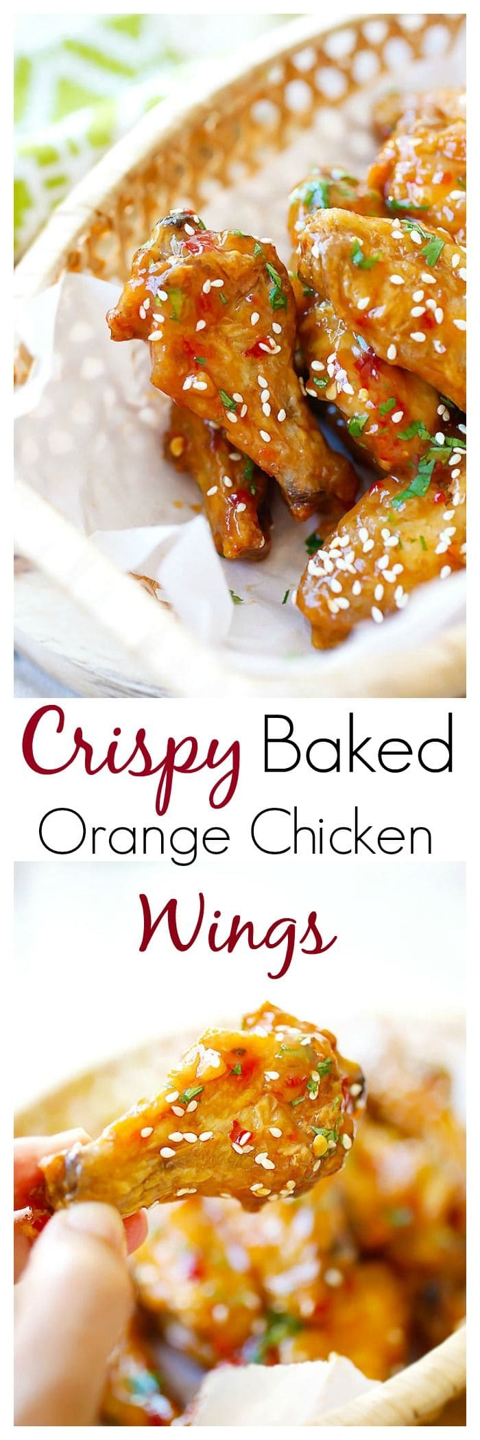 Baked Orange Chicken Wings - crispy, sticky baked wings (no frying) in an amazeballs orange sauce, so yummy | rasamalaysia.com