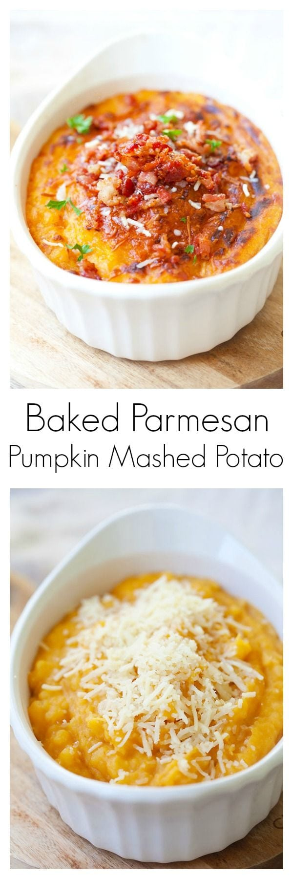 Parmesan Bacon Pumpkin Mashed Potatoes - baked mashed potatoes loaded with parmesan cheese, bacon and pumpkin. Rich, sweet, cheesy and so easy to make | rasamalaysia.com