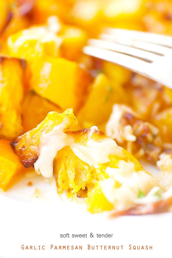 Homemade healthy Garlic Parmesan Roasted Butternut squash close up.