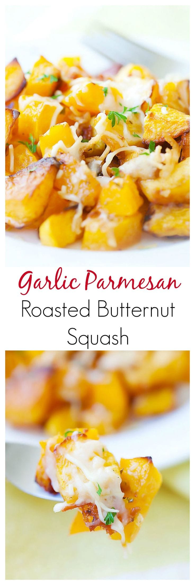 Garlic Parmesan Roasted Butternut squash – sweet tender butternut squash roasted with butter, garlic & Parmesan cheese. So AMAZING you want it every day | rasamalaysia.com