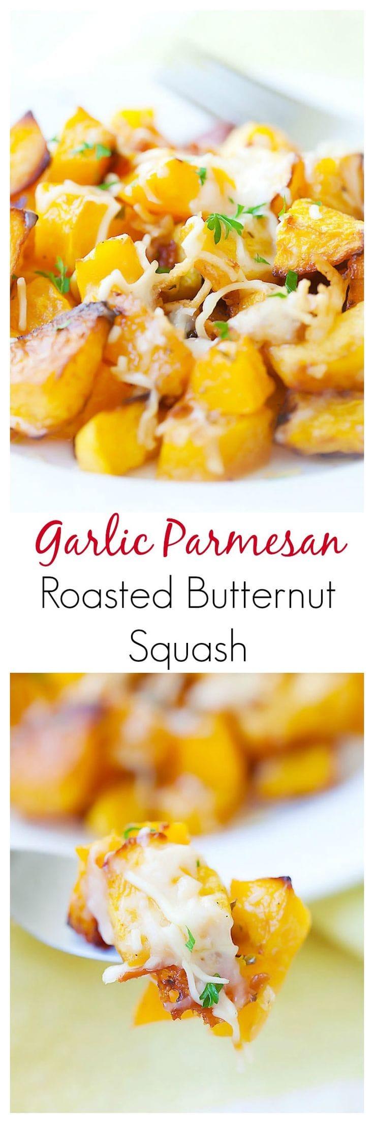 Garlic Parmesan Roasted Butternut squash – sweet tender butternut squash roasted with butter, garlic & Parmesan cheese. So AMAZING you want it every day   rasamalaysia.com