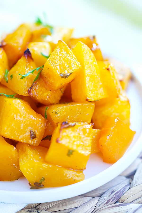 Easy delicious roasted butternut squash recipe with butter and honey.
