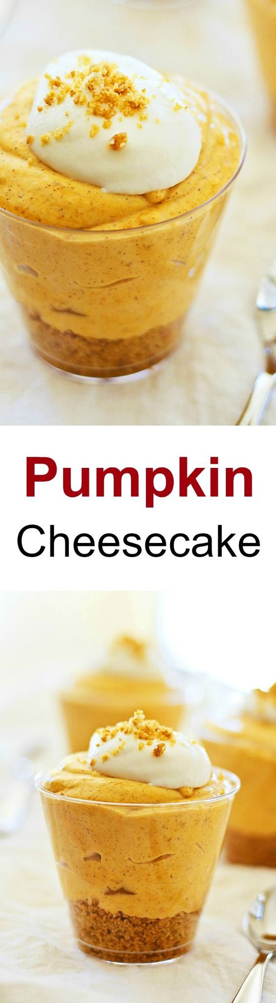 Pumpkin Cheesecake - THE BEST fall cheesecake ever! Fast, easy, no-bake with easy ingredients of pumpkin, cream cheese and sugar to make the cheesecake | rasamalaysia.com