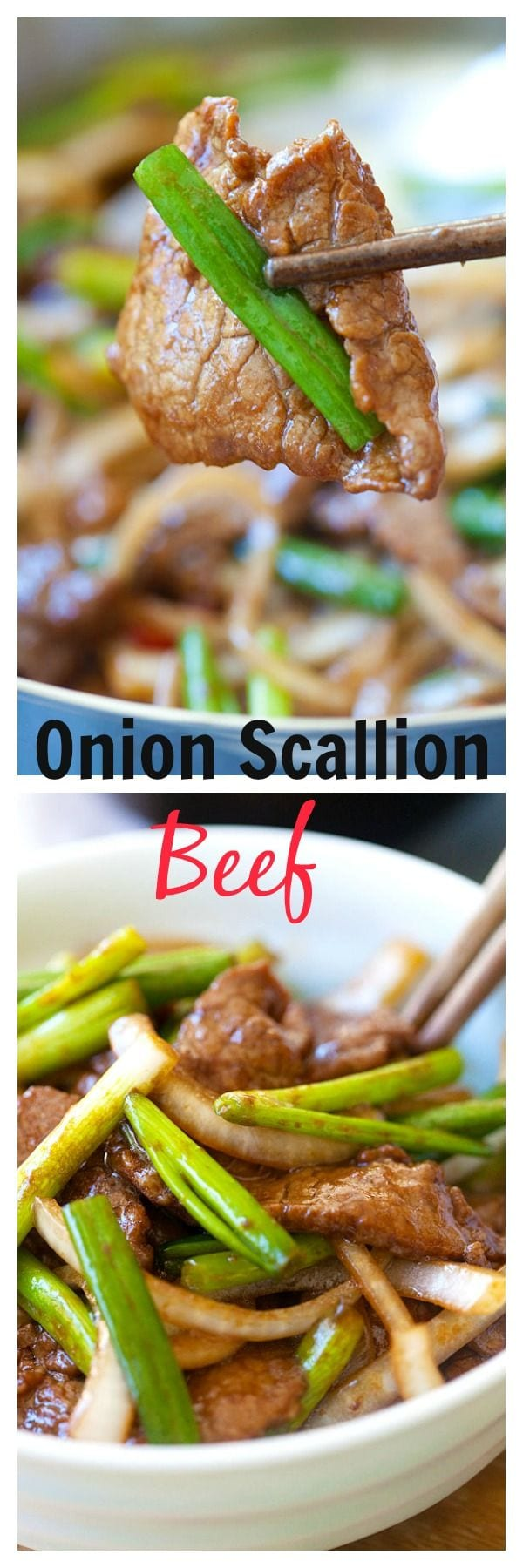 Onion scallion beef – tender beef stir-fry in yummy Chinese brown sauce. Super easy recipe that takes only 20 mins | rasamalaysia.com