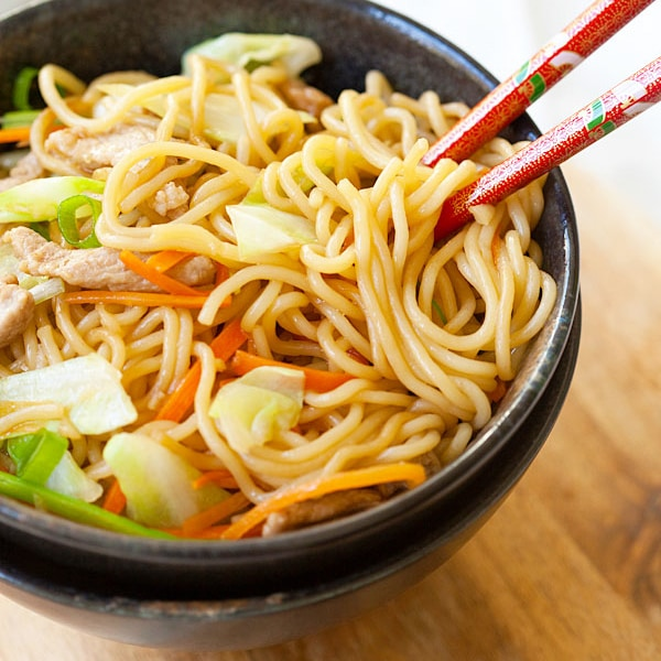 Yakisoba or Japanese fried noodles is a popular dish. Inspired by Chinese fried noodles, this yakisoba recipe is made with cabbage, carrot, and pork   rasamalaysia.com