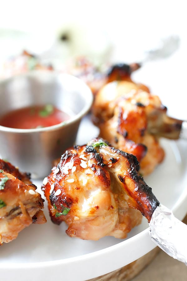 Baked Chicken Lollipop – the most amazing drumette appetizer that is shaped like a lollipop. Marinated with hoisin ginger and baked to juicy deliciousness   rasamalaysia.com