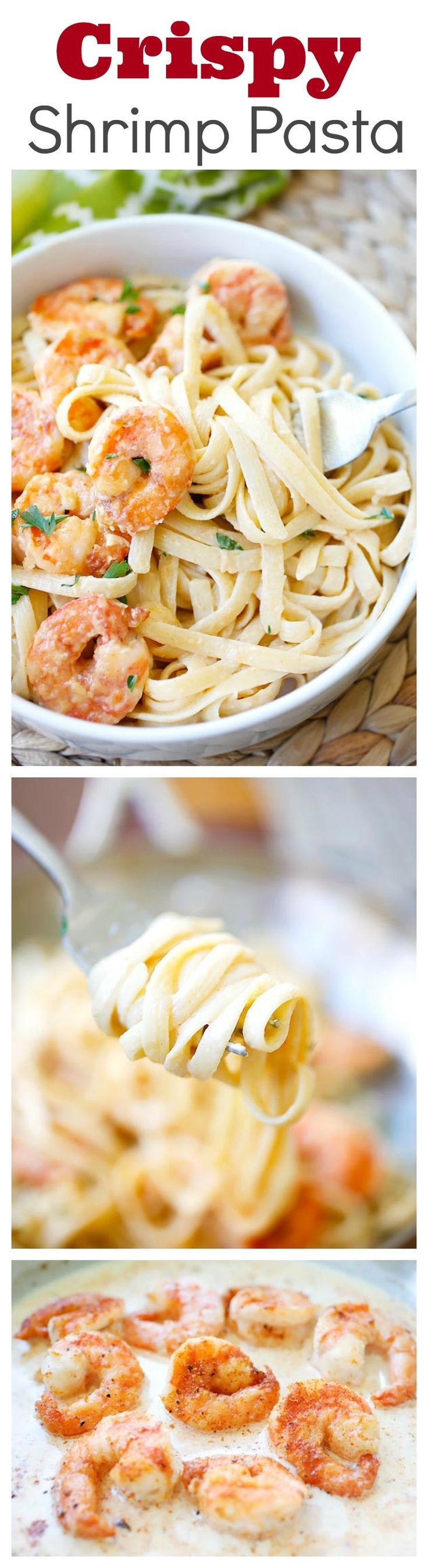 Crispy shrimp pasta – the best shrimp pasta ever with rich creamy sauce and cajun-seasoned crispy fried shrimp | rasamalaysia.com