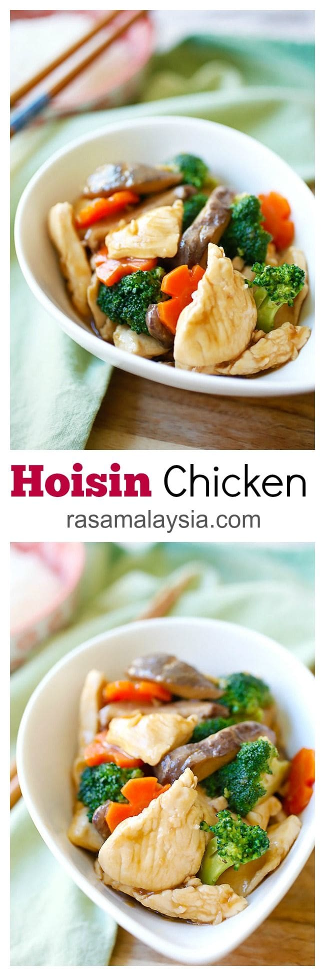 Hoisin chicken – easy chicken stir-fry with vegetables in a savory Hoisin sauce. This recipe takes 20 minutes with easy-to-get store ingredients | rasamalaysia.com