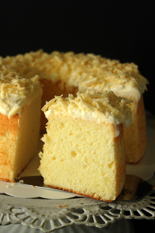 Easy and delicious homemade Parmesan cheese chiffon cake.