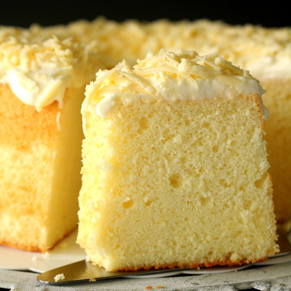 Parmesan chiffon cake – light and airy chiffon cake with a tint of Parmesan cheese, and topped with shredded Parmesan. Amazing recipe that you have to try | rasamalaysia.com