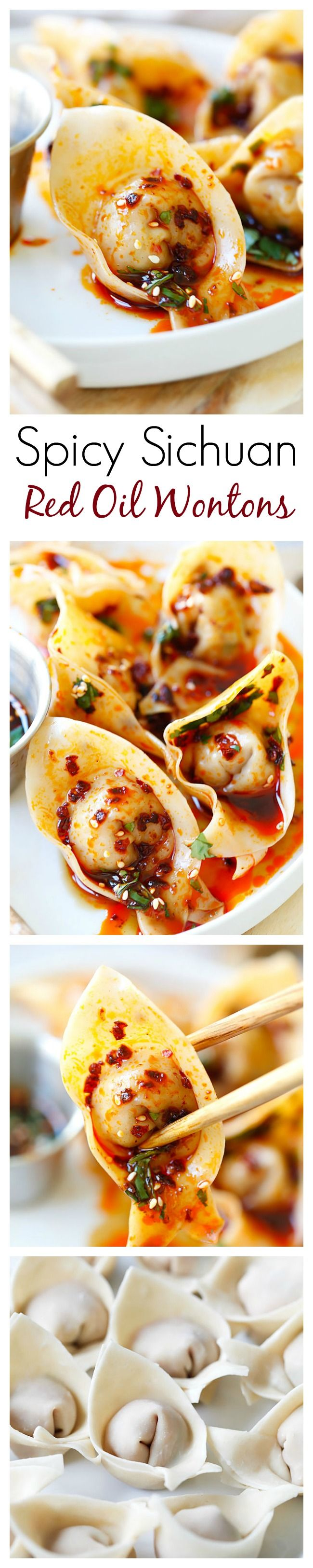 Sichuan Red Oil Wontons – delicious and mouthwatering spicy wontons in Sichuan red oil and black vinegar sauce. Easy recipe for homemade spicy wontons   rasamalaysia.com