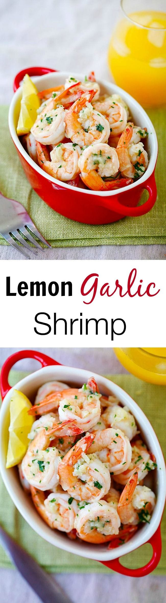 Lemon Garlic Shrimp - easiest and best shrimp recipe with garlic, shrimp, butter and lemon, all ready in 20 mins. Perfect as appetizer or with pasta | rasamalaysia.com