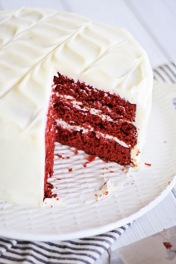 Sliced Red Velvet Cake ready to serve.