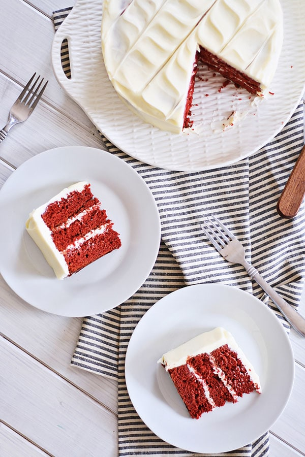 Top down view of easy and quick delicious red velvet cake made with cream cheese frosting.